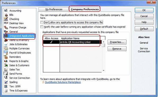 QuickBooks Application Access