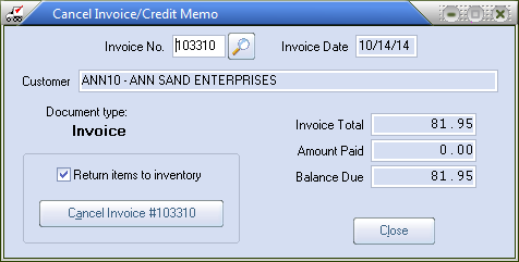 cancel invoice credit memo utility